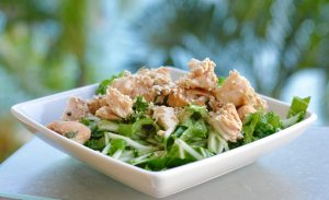 Salad of cucumber & mixed leaves with Asian chicken