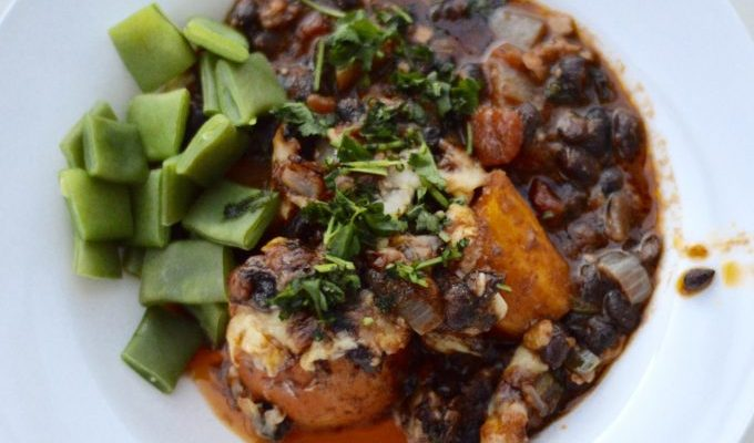 Easy mid-week baked black bean chilli recipe with sweet potatoes