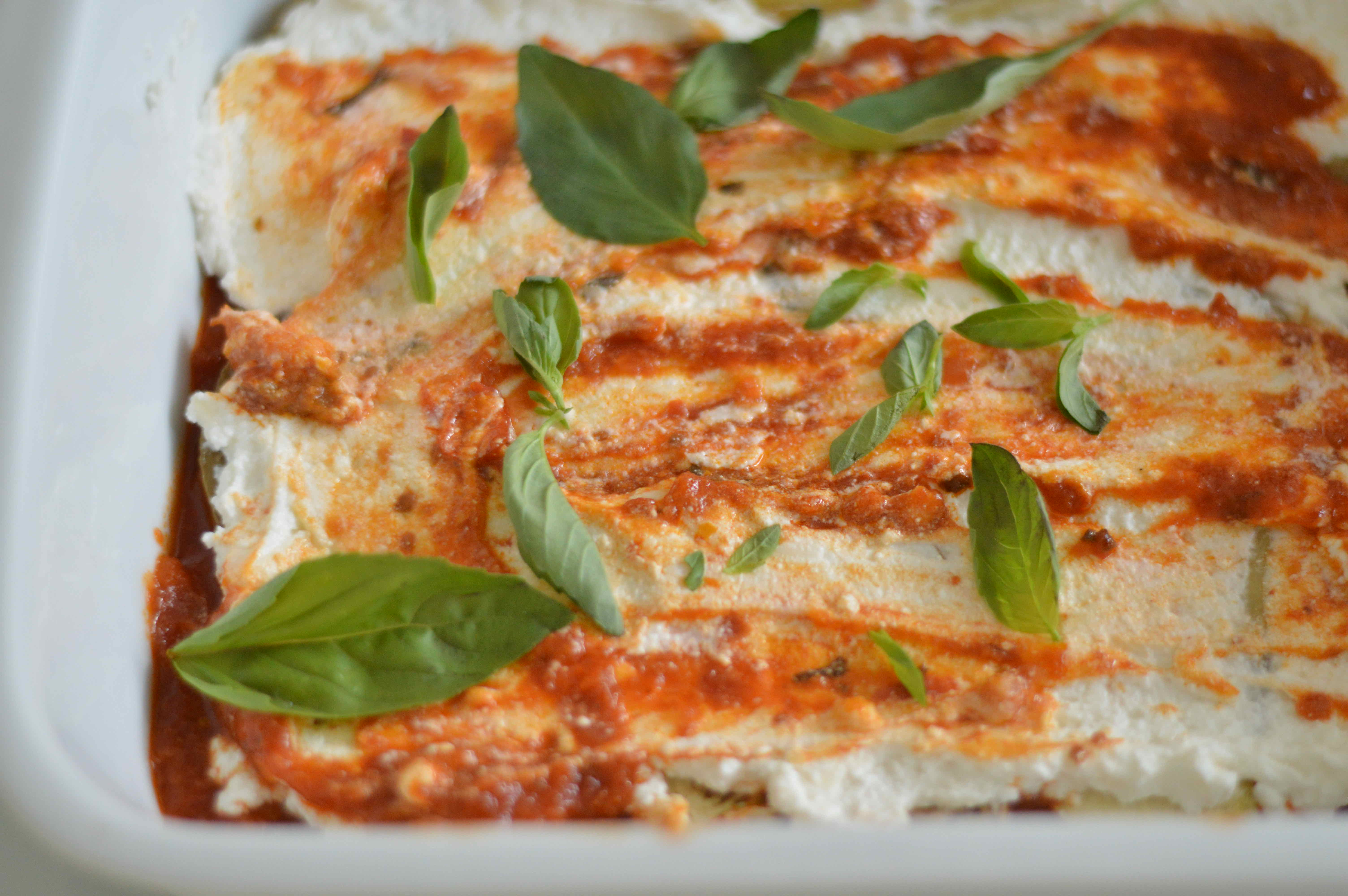 Aubergine (eggplant) and ricotta layers with tomato sauce