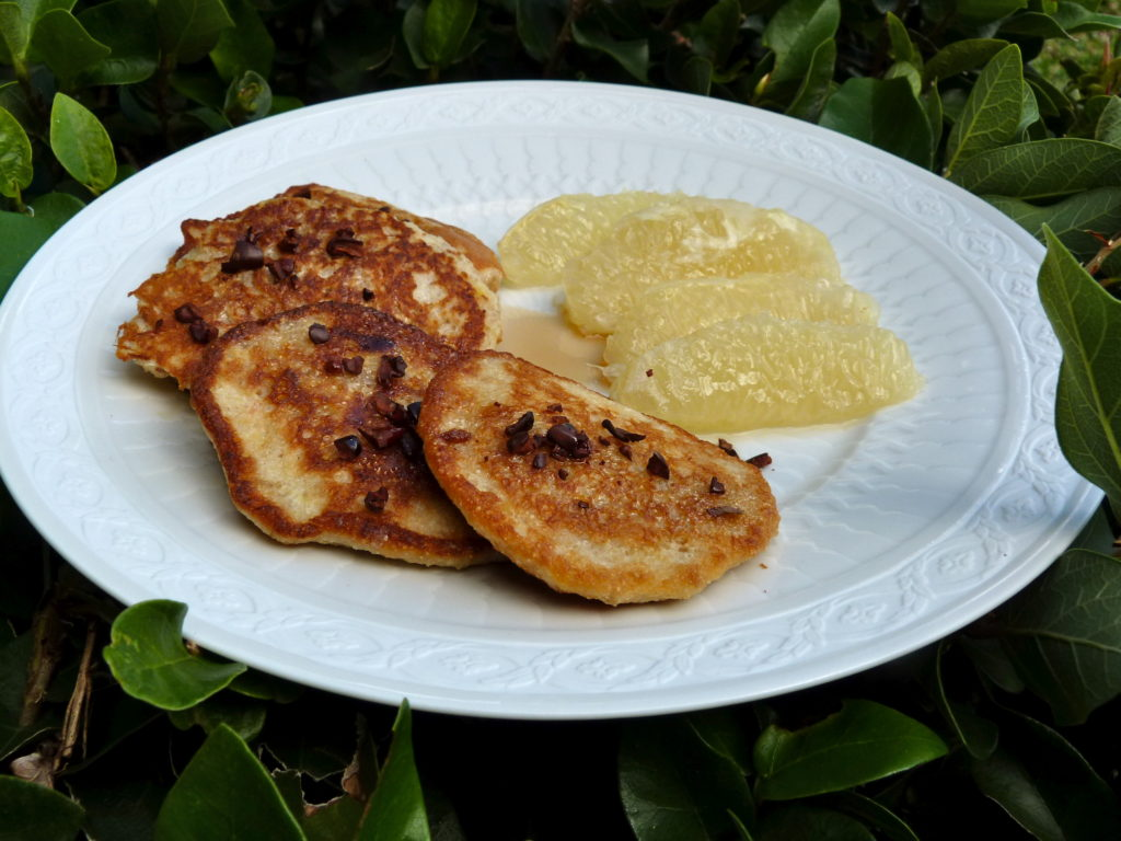 Banana fritters with cassava and cocoa nibs