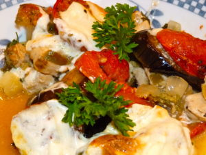 Chicken and aubergine (eggplant) bake