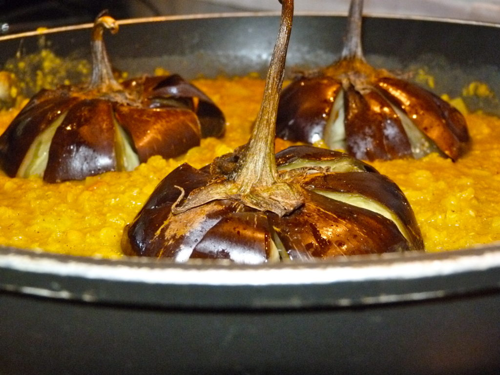 Aubergines (eggplant) with red lentils