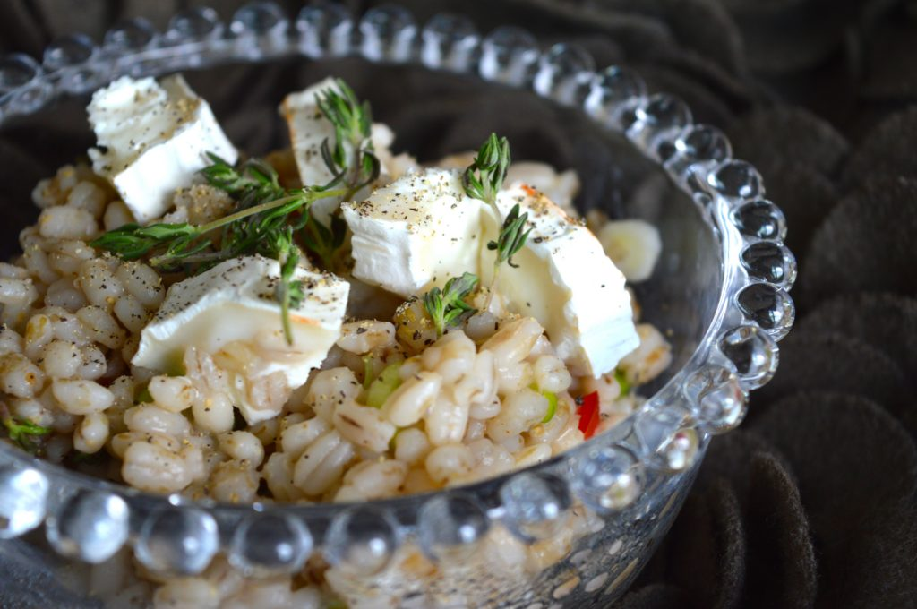 Easy mid-week pearl barley with goat's cheese