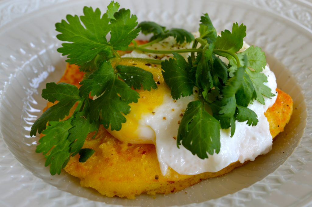 Jalapeño cornbread with poached egg