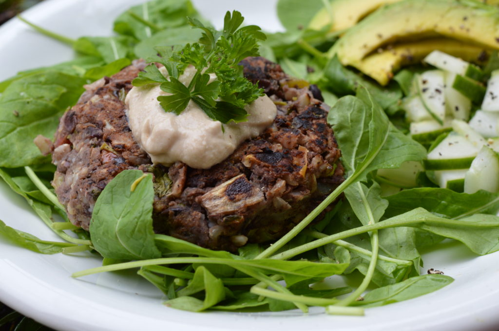 Delicious vegan black bean burgers
