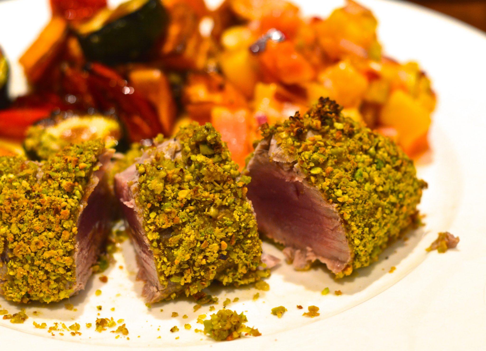 Pistachio tuna with Caribbean salsa