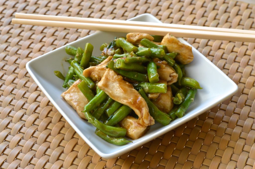 Quick and easy stir fry chicken with green beans {recipe by NutFreeWok}