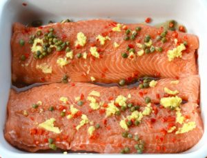 Salmon with ginger, chilli and capers