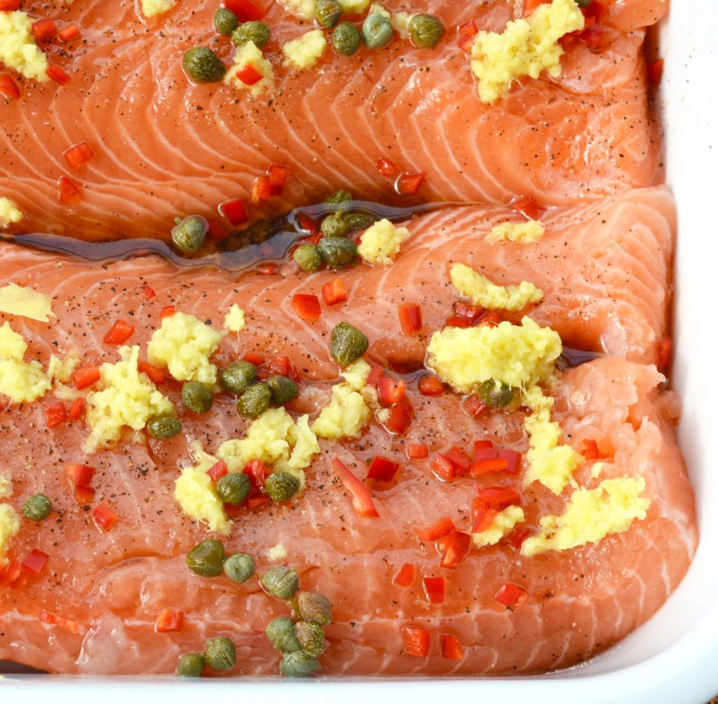 salmon with ginger chilli and capers