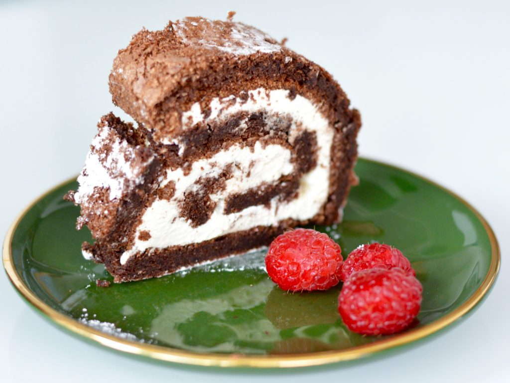 Chocolcate Roulade Gluten Free - on a dish and ready to eat!