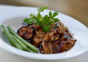 Aubergine and lentil vegetarian casserole with creamy mushroom layer