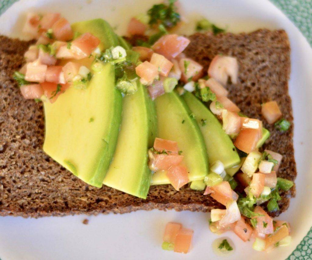 avocado on rye toast with tomato salsa