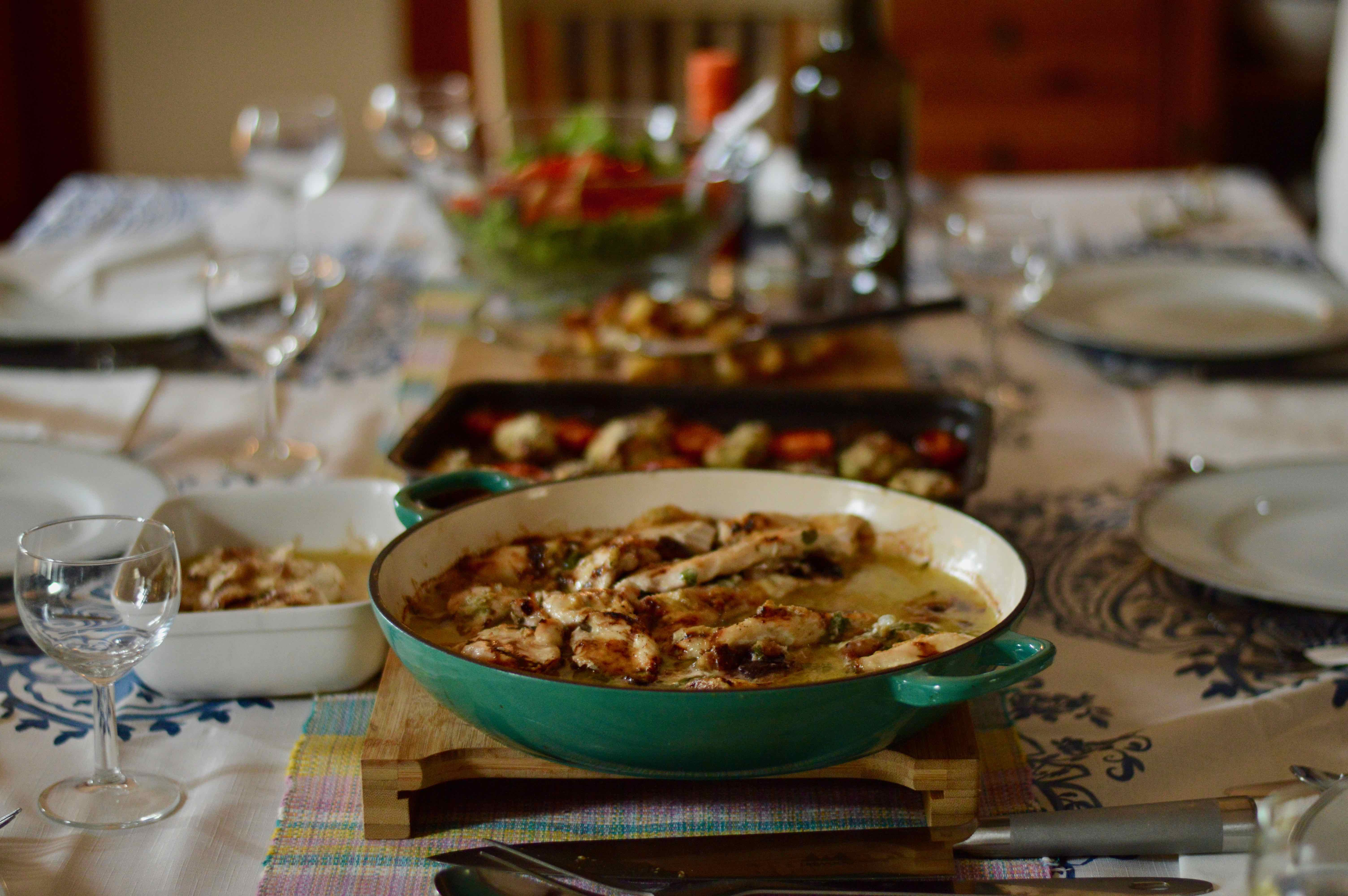 Final prepared meal (Chicken with Figs and Gorgonzola Cheese)
